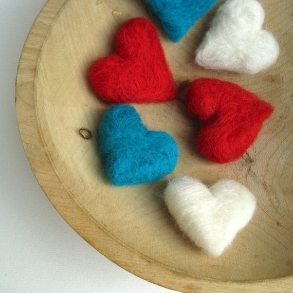 felted heart pebbles set of 6 / handmade eco friendly decorations in turquoise, barn red and cloud white
