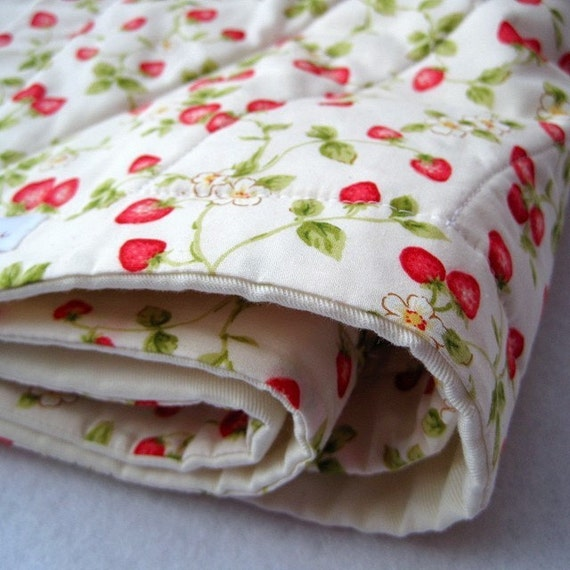 strawberry organic BABY QUILT in berry fields forever / summer fruit red and white kids crib bedding (last one - ready to ship)