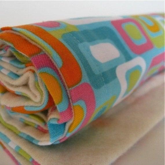 baby eco organic burp cloths set in vintage mod nesting squares (last 2)