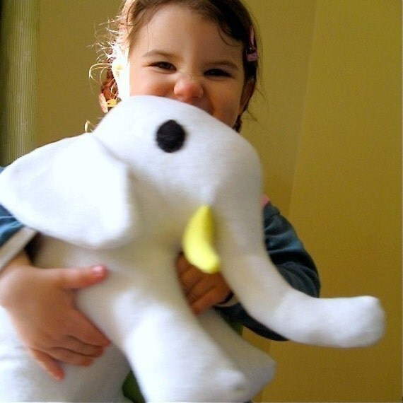 Organic Baby Elephant- Organic Baby Toy in White Organic Fleece- Organic Stuffed Animal Elephant