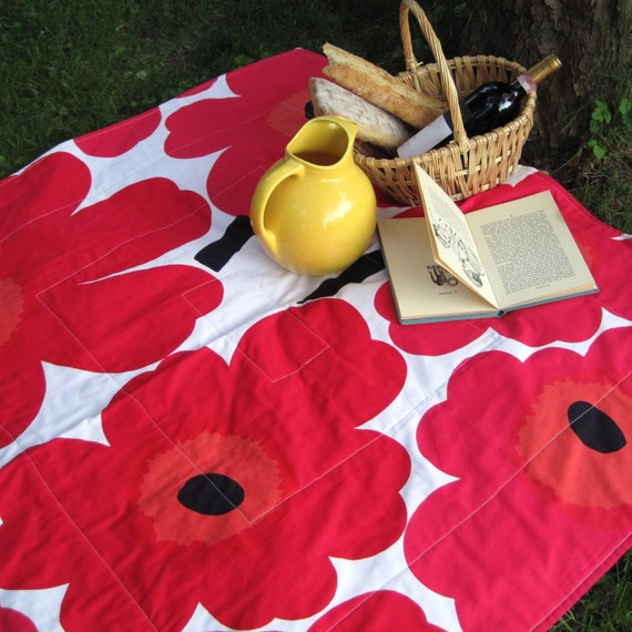couples marimekko picnic blanket in summer eco friendly fuschia red poppies for beach camping dining (ONLY 2)