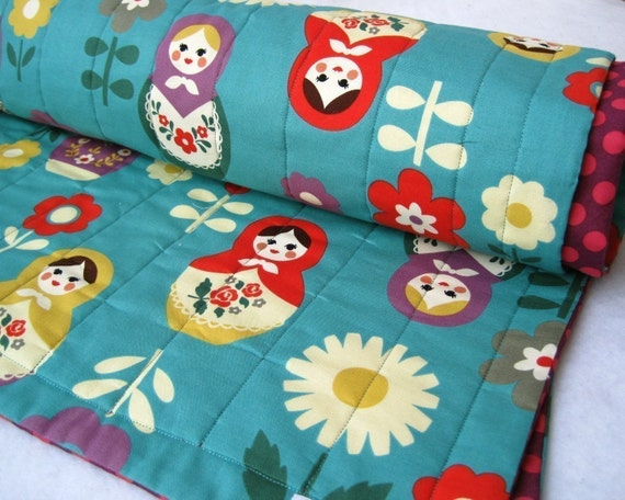 Matryoshkas Baby QUILT- As Seen in Pregnancy & Newborn Magazine- Baby Quilt with Organic Cotton, Turquoise Blue, Baby Girls