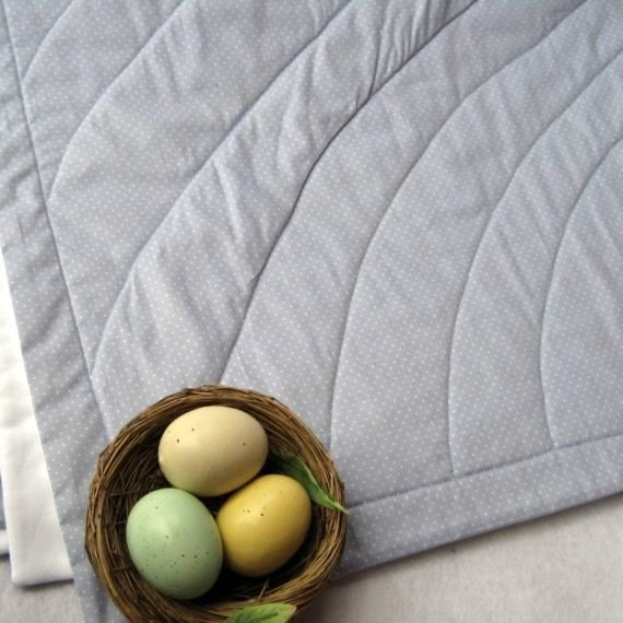 organic baby quilt / crib bedding handmade in eco friendly spring robin's egg gray blue (LAST ONE)