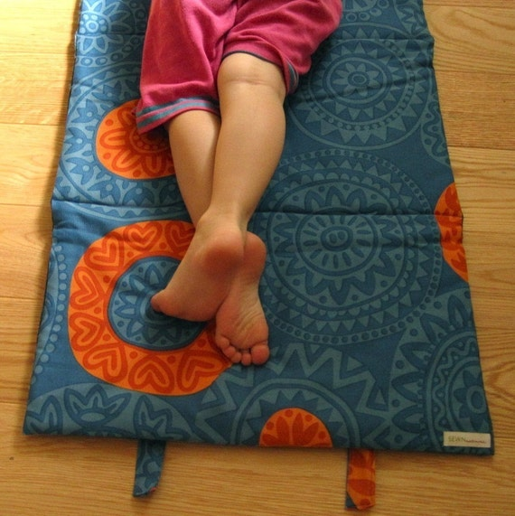 Preschool Nap Mat with Organic Cotton- AS SEEN in Cool Mom Picks- Napmat, Eco Friendly, Modern, Blue and Orange