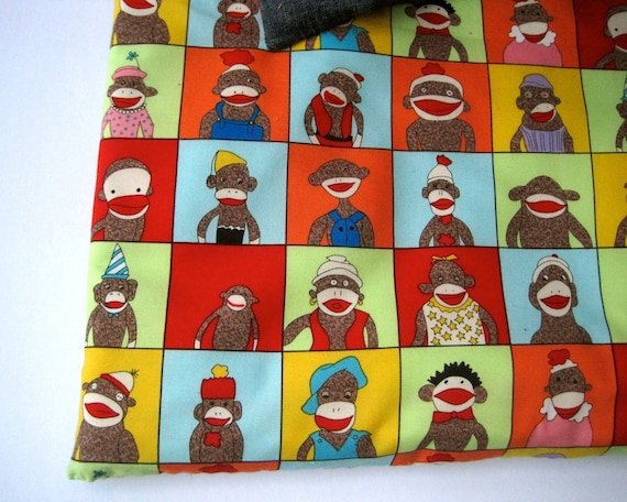 toddler nap mat for daycare and preschool with eco friendly sock monkeys (Ready to Ship)