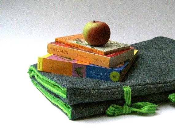 NAP MAT - organic preschool napmat for toddlers - eco friendly school bedding - grass green stripes