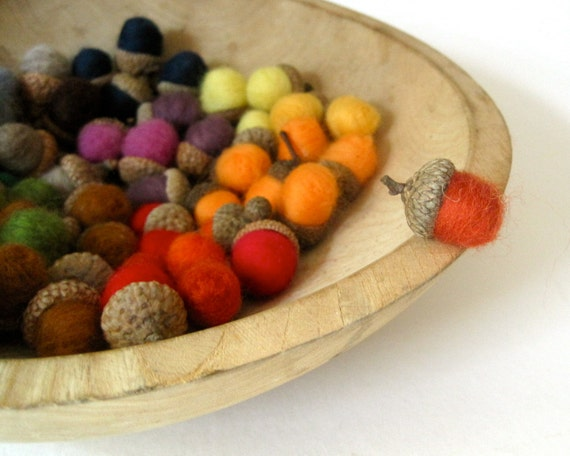 Felted Miniature Acorns - Rainbow Felted Acorns SET of 60 at Wholesale Price - As Seen in Micasa Magazine
