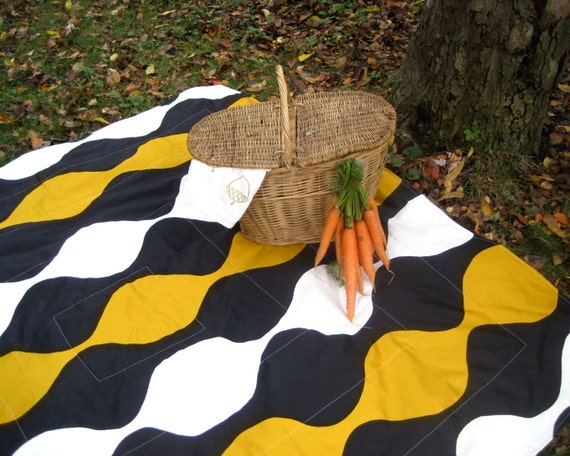 AS SEEN in American Craft Magazine - Marimekko Picnic Blanket - Black Gold Geometric - Quilted Summer Outdoors Blanket (Ready to Ship)