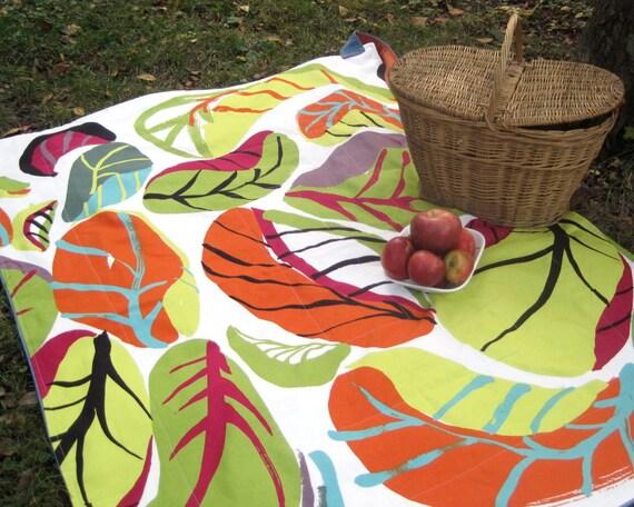 Marimekko Picnic Blanket - Modern Summer Outdoors Food Blanket - Orange Green Tropical Leaves - Wedding gift idea (READY TO SHIP)