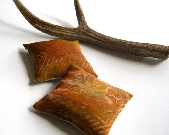 Balsam Sachets with Vintage Japanese Kimono Silk in Gold SET of 2 - Fragrant Maine Woods Pillows with Copper Birds (Ready to Ship)