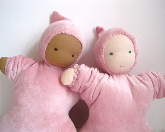 """Waldorf doll organic baby in pink 12""""  / eco friendly toy for kids children to cuddle (READY TO SHIP)"""