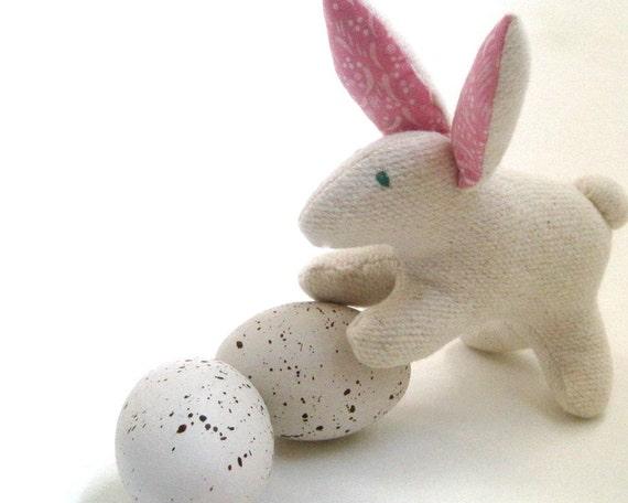 Rabbit Stuffed Animal Organic Toy -  White Bunny- Soft Plush Stuffie - Modern Kids Easter Gift
