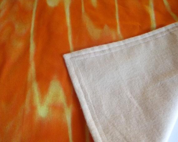 Reserved for darlamharker - modern baby BLANKET Marimekko / organic flannel with retro neon orange  - eco friendly unisex gift - SALE