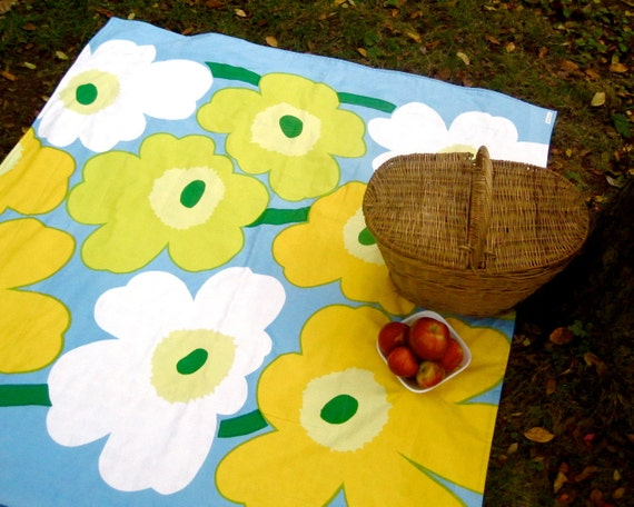 Marimekko Picnic Blanket - Beach Blanket - Giant Mod Flowers - Gold White Blue and Lemon Pastels - Wedding gift