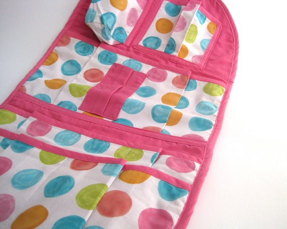 Reserved for dtamel - Kids car seat organizer / modern baby and toddler pockets holder accessory / rainbow dots