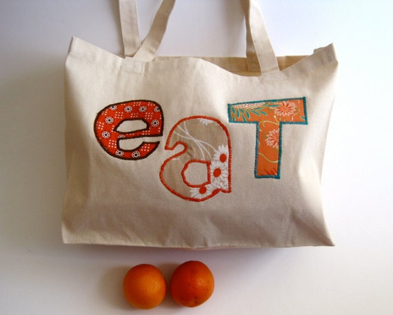 Organic Market Bag in tangerine orange / eco friendly farmer's market summer food tote with fabric letters (ONLY 1 - ready to ship)