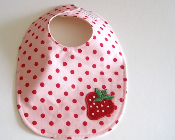 organic BABY BIB - strawberry pink polka dots for eco friendly baby girls - spring kids