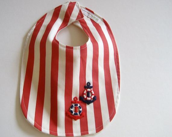 Organic BABY BIB - Nautical Summer Red and White Stripes / Unisex Eco-Friendly Baby Shower Gift