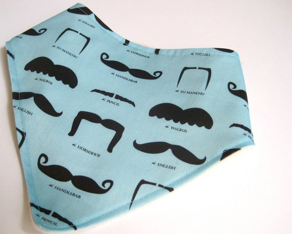 Organic BABY Bandana Bib Scarf - Hipster Boy Drooling Food Bib in Aqua Blue Mustaches Moustaches