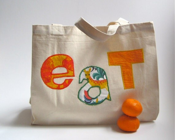 Reserved for annajanefraser - Organic Tote Bag for the Market in orange / eco friendly summer food bag with fabric letters