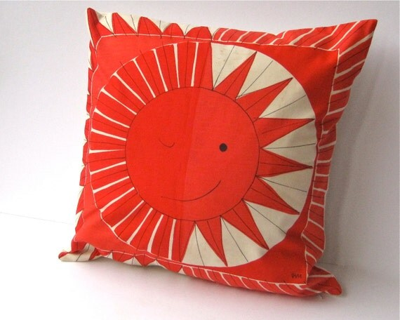 rare Vera 1950s throw pillow cover - pillow sham handmade with vintage Vera cotton scarf in red and white sun (only 1 - ready to ship)