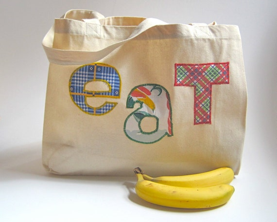 Organic Bag for the Farmer's Market with vintage plaid letters / eco friendly summer food bag (ONLY 1 - ready to ship) guy gift