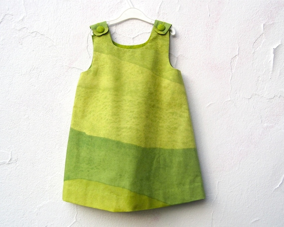 The Stella Dress - Girls Dress in Marimekko Ombre Greens - Modern Color blocks - Toddler Girls Spring Fashion