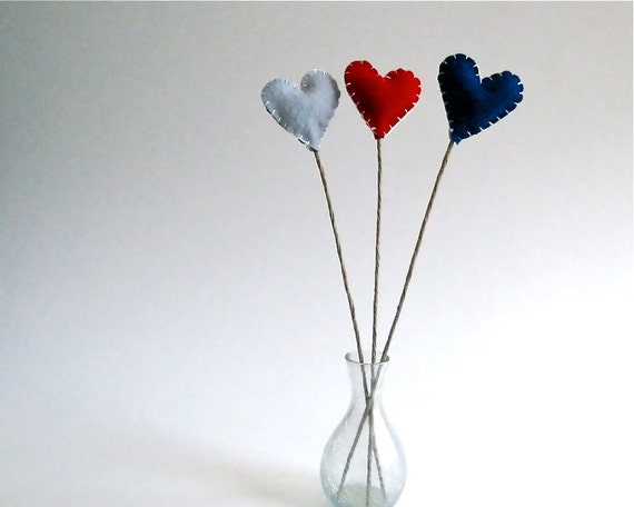 nautical hearts flowers stems set of 3 / eco friendly love table decor in red and navy blue wool (READY TO SHIP)