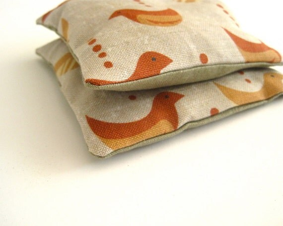 Balsam and Linen Sachets with Birds SET of 2 - Modern Decor Eco friendly Maine Woods Balsam Fir Sachets (Ready to Ship) For Father's Day