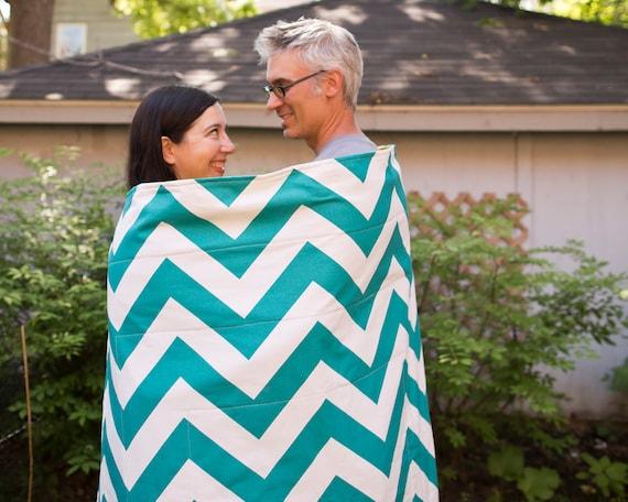 Picnic Blanket- As Seen on HGTV- Teal Chevron, Waterproof Picnic Blanket- Personalized Wedding Gift