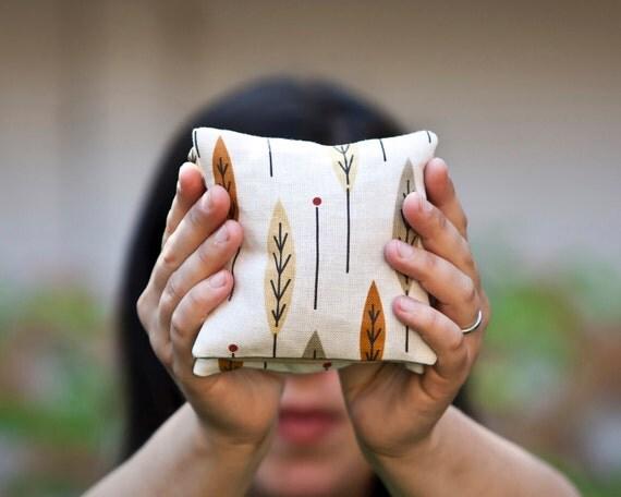 Balsam Sachets with Autumn Leaves Linen SET of 2 - Home Decor - Midcentury Modern - Balsam Fir Pillows Fall Hostess Favours