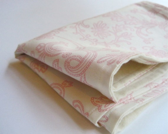 Reserved for JStruss - Organic Baby Burp Cloths SET of 2 in Vanilla White Pink Swirls for Modern Eco Friendly Kids SALE (Ready to Ship)