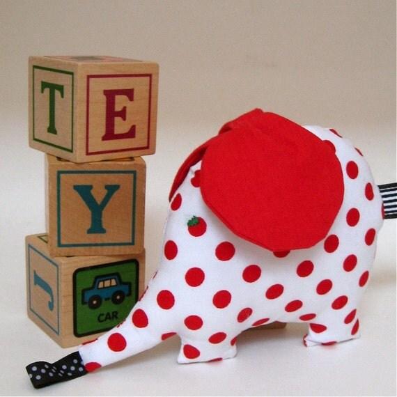 retro elephant baby stuffed toy \/ I'm such a softie \/ etsyholidaysale