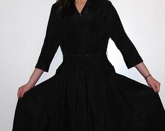 Vintage Dress Black 1940's Edwardian