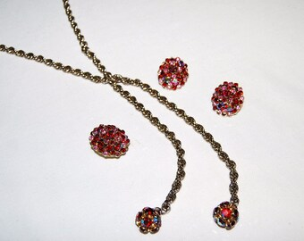Vintage Necklace, Earrings, Collar Clip created with Ruby and Pink Rhinestones
