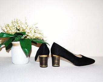 Vintage Shoe Black with Gold Retro Pump