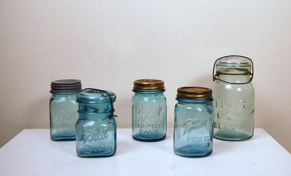 Vintage Aqua Blue Mixed Jars