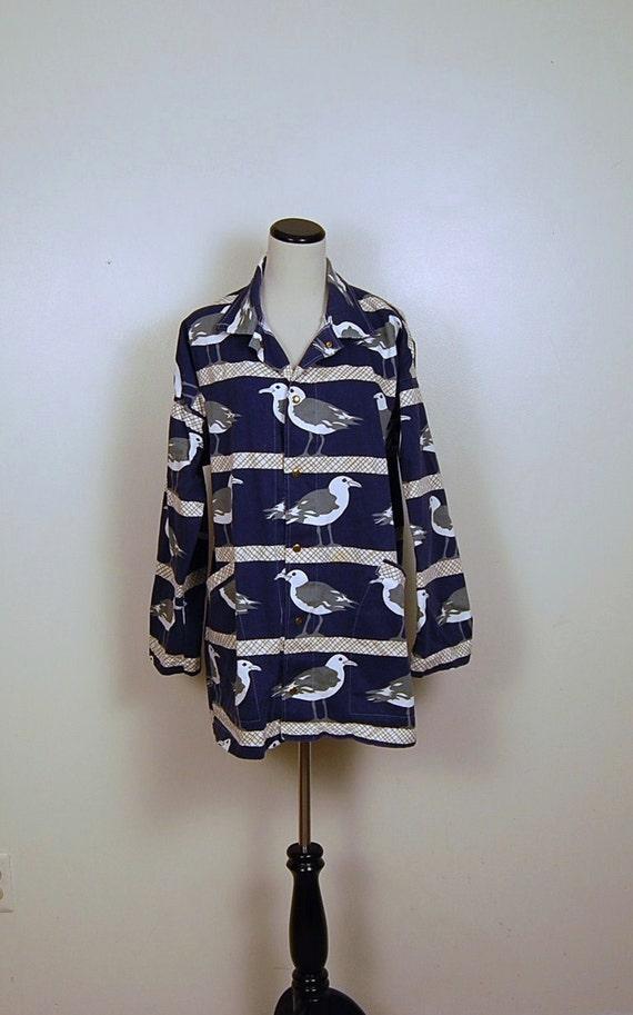 Navy Blue Duffle Seagull Beach Coat