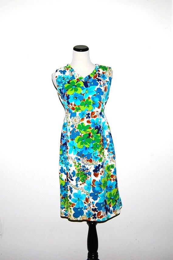 Vintage Dress 60s Tropical Mod