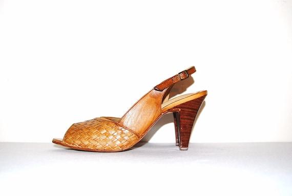 Vintage Shoes Pecan Slingbacks 80s