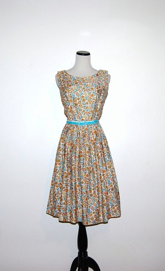 50s Aqua with Orange Dress