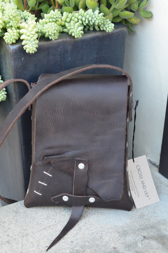 Handmade Brown Leather Messenger Hip Bag