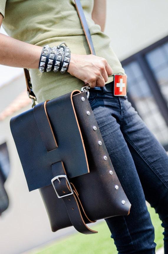 Handmade Dark Chocolate Brown Leather Messenger Bag