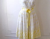 White and Yellow Floral Eyelet Dress