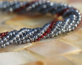 Velvet and Rubies, A Handwoven Beaded Bracelet