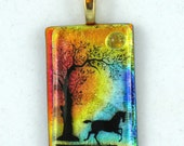 Dichroic and Fused Glass Pendant - Multicolor, with Horse and Tree