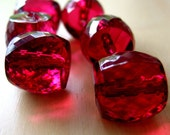 faceted acrylic garnet red barrel beads x6