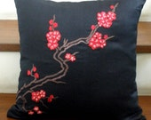 Black and Red Cherry Blossom Embroidery Pillow Cover