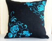 Decorative Pillow Cover,Throw Pillow Cover, Black Linen  Pillow, Blue Gray Flower, Embroidered Cushion Cover