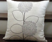 Brown Modern Sunflower Plant on Oatmeal Linen  - Embroidery Pillow Cover